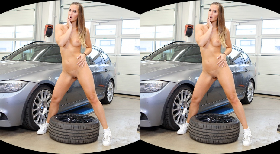Hot Babe Gets Naked and Horny in a Car Shop